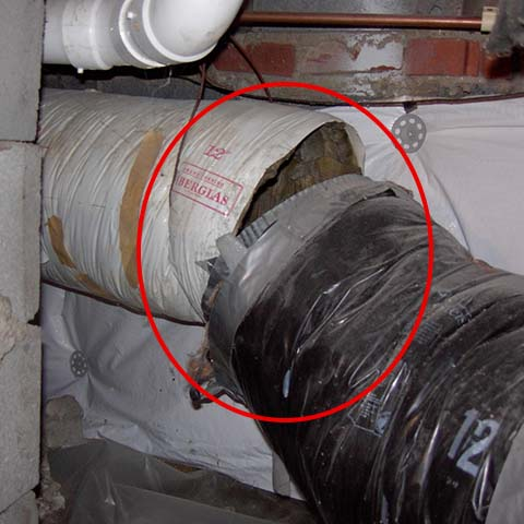 A broken duct causing air leaks.