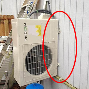 A ductless condenser installed side-ways