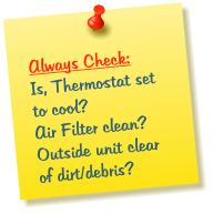 Air Conditioning Problem Check List
