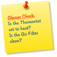 Heating Problem Check List